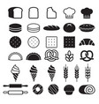 bakery cakes icons set vector image