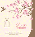 bird cage hanging from branch vector image vector image