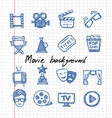 blue movie icon set vector image vector image