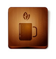 brown cup tea and leaf icon isolated on white vector image vector image
