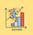 businessman running on thin line style graph vector image