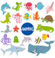 cartoon marine animal characters set vector image