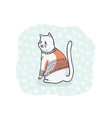 christmas cat greetings card clipart hand drawn vector image