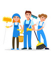 cleaning service staff smiling cartoon characters vector image vector image