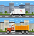 Commercial truck on road in city vector image vector image