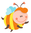 cute bee cartoon flying isolated vector image vector image