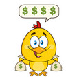 cute yellow chick cartoon character holding money vector image vector image