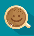 delicious coffee cup with face kawaii vector image