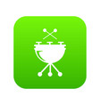 drums icon green vector image