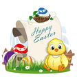 Easter eggs and chicken vector image vector image