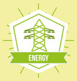 electricity tower power ecology energy emblem vector image