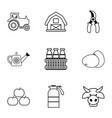 farmer equipment icons set outline style vector image vector image