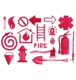 Firefighting icons set Watercolor signs on the vector image