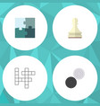 flat icon play set of jigsaw pawn chequer and vector image vector image