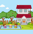 front house scene with many kids in pool vector image