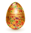 Golden egg with flowers vector image vector image