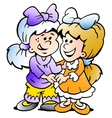 hand-drawn two cute girls there are freinds vector image vector image