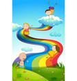 happy children on rainbow vector image vector image