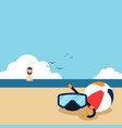 happy holiday on beach flat design concept vector image vector image
