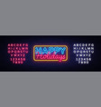 happy holidays neon text holidays vector image