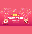happy new year sale banner with cute mice gold vector image vector image