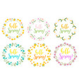 hello spring set floral frame for text isolated vector image