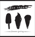 ice cream set popsicles and cones silhouette vector image