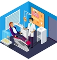 Isometric Dentist Office During Reception Patient vector image