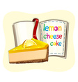 Lemon cheesecake and a book vector image vector image