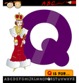 letter q with queen cartoon vector image