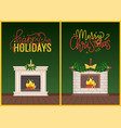 merry christmas and happy holidays burning fire vector image vector image
