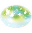 oval springtime background with butterflies vector image