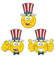 patriotic yellow cartoon emoji face collection - 1 vector image vector image