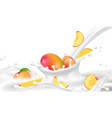 realistic milk or yogurt flow with peach and mango vector image vector image