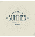 say hello to summer vintage sign vector image vector image