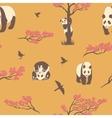 seamless pattern sakura tree and panda vector image