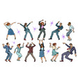 set collection dancing business people men and vector image vector image