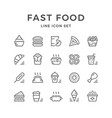 set line icons of fast food vector image vector image