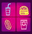 set of food neon icons vector image vector image