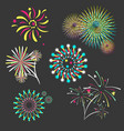 set of isolated brightly celebration firework vector image
