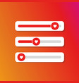 set of slider heart for social media vector image vector image
