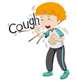 Sick boy coughing hard vector image vector image