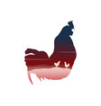 silhouette of inseide chicken on the hill vector image