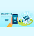 smart home concept with app on mobile phone vector image