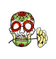 sugar skull hand drawn icon vector image vector image