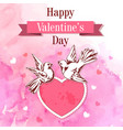 valentine background with two birds vector image