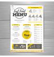 Vintage fast food menu design vector image vector image