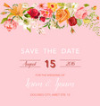 wedding invitation template floral card vector image vector image