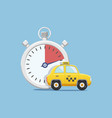 yellow taxi car next to stopwatch vector image