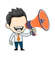 young businessman giving announcement using vector image